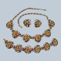 Vintage Florenza Rhinestone Parure - Necklace Bracelet and Earrings Set of Jewelry - FREE USA Shipping