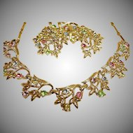 CORO Rhinestone Necklace Earrings and Brooch Set - Vintage Coro Demi-Parure Jewelry