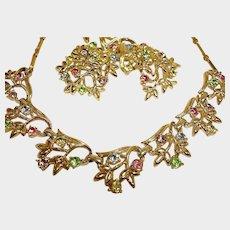 CORO Rhinestone Necklace Earrings and Brooch Set - Vintage Coro Demi-Parure Jewelry