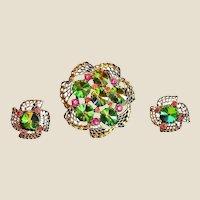 Vintage Watermelon Rivoli Rhinestone Brooch & Earring Set - Demi Parure