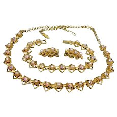 Vintage Parure - Aurora Borealis Rhinestones and Faux Pearl -  Necklace Bracelet and Earrings Set