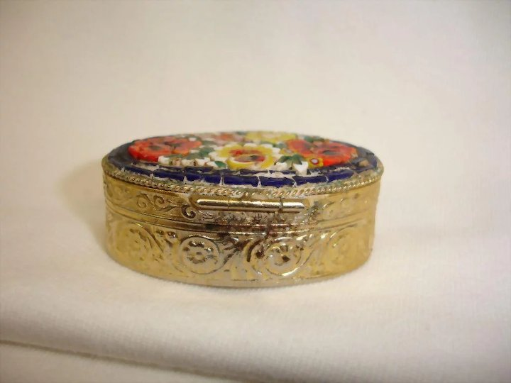Micro Mosaic Jewelry Box Pill Box or Snuff Box Vintage Flower
