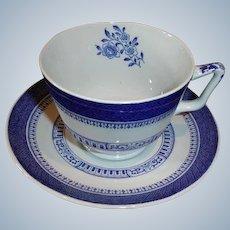 Vintage Copeland Spode Cup and Saucer - Old Bedford Pattern BLUE London Shape