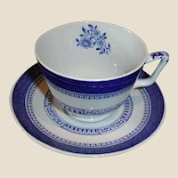 Vintage SPODE Cup and Saucer - Copeland Spode - Old Bedford Pattern - BLUE London Shape