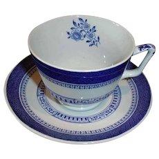 Vintage SPODE Cup and Saucer - Copeland Spode - Old Bedford Pattern - BLUE London Shape