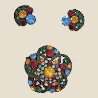 Demi Parure Rhinestone Brooch and Earrings Set