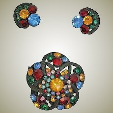 Demi Parure Rhinestone Brooch and Earrings Set