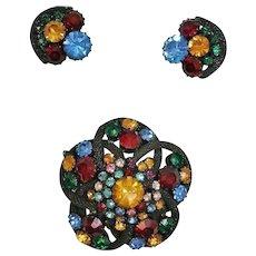 Rhinestone Demi Parure Jewelry - Vintage Brooch and Earrings Set