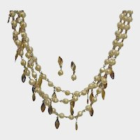 AVON Necklace and Earrings Demi Parure -- Vintage Pierced Earrings and 3 Strand Necklace