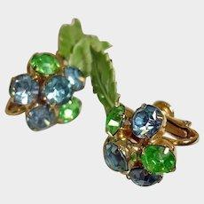 Vintage HOBE Rhinestone & Enameled Green Leaf Earrings - Vintage 1940's CLIP-ON Blue and Green Rhinestone Earrings