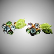 HOBE Rhinestone & Enameled Green Leaf Earrings - Vintage Rhinestone Earrings