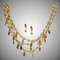 Vintage Avon Necklace and Earrings Demi Parure - 3 Strand Necklace