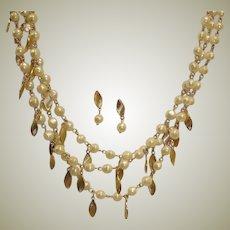 SALE - Vintage Avon Necklace and Earrings Demi Parure - 3 Strand Necklace