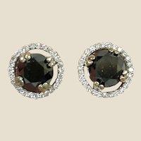 SALE*** Estate 3 Carats Black Diamond Earrings - White Diamond Rim - 14K White Gold