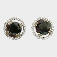 SALE *** Estate 3 Carats Black Diamond Earrings - White Diamond Halo Rim - 14K White Gold