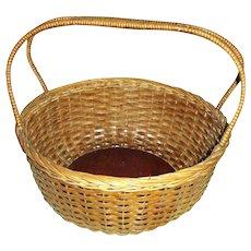 Vintage 1940's Sturdy Splint Gathering Basket