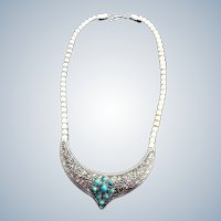 Faux Turquoise and Silver Tone Necklace