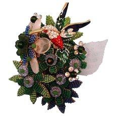 Signed Stanley Hagler Brooch - Vintage  Figural Hummingbird and Flower Garden Brooch