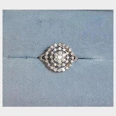 Estate - 14 K Solid White Gold Diamond Ring – Cluster Diamond Ring - 6 1/2