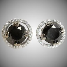 Black Diamond Earrings 3 Carats -  Clear Diamond Rim - 14K White Gold - Estate Earrings