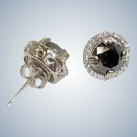 Estate  3 Carats Black Diamond Earrings - White Diamond Rim - 14K White Gold