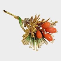 18K Solid Gold Brooch - Diamond and Sardinian Red Coral Brooch - Italy - Fine Vintage Jewelry