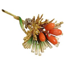 18K Gold Brooch - Diamond and Sardinian Red Coral Brooch - Italy - Fine Vintage Jewelry