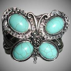 Estate Faux Turquoise Butterfly Cuff Bracelet