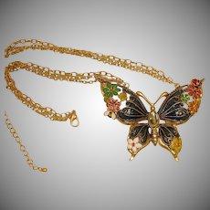Estate Butterfly Enamel Necklace