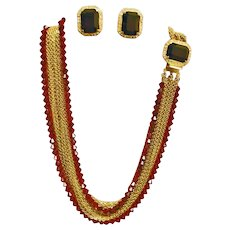 Vintage HOBE Demi Parure - Ruby Red Crystal and Rhinestone Necklace and Earring Set