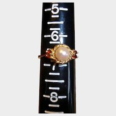 Vintage Estate Pearl and Garnet Ring - 14K Yellow Gold - 6-3/4 US -Real Solid Gold Ring