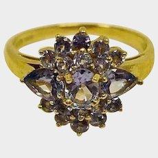 Vintage Tanzanite Cluster Ring - 14K Yellow Gold - Size 8 US - Prong Set Tanzanite Stones