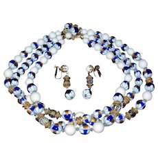 FRANCOIS Bead and Crystal Necklace and Earrings Set - Vintage Estate Demi Parure