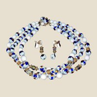 Vintage FRANCOIS Bead and Crystal Necklace and Earrings Set - Estate Demi Parure