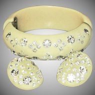 Signed WEISS Thermoset  / Lucite Rhinestone Bracelet and Earrings Set