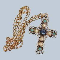 Vintage EMMONS Jeweled Cross Pendant and Chain Necklace – Emmons Rhinestone Jewelry