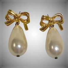 Vintage Gold Plated Bow and Faux Drop Pearl Pierced Earrings
