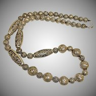 Vintage Custom Made - Antiqued Silver Bead Necklace