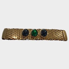 Vintage Gold Tone Bar Brooch with Green and Blue Crystals