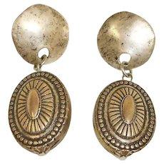 Vintage Antiqued Silver Tone Dangle Drop Pierced Earrings