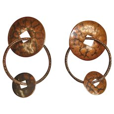 Vintage 1960's Dangle Drop Pierced Earrings - Hand Hammered Copper Color