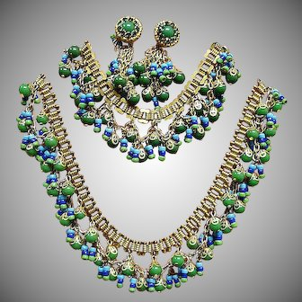 Miriam Haskell - Larry Vrba Design Egyptian Revival Parure - Vintage Miriam Haskell Jewelry Sets