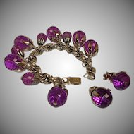 Vintage PURPLE Charm Bracelet and Earrings Demi Parure - Vintage Napier Jewelry