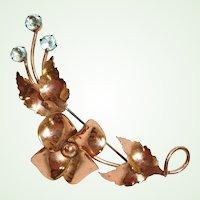 Vintage STERLING BY JORDAN Flower Brooch -  Gold Vermeil Plated Brooch with Floral Blue Rhinestone