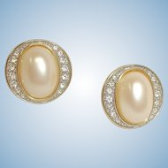 Vintage PIERCED Earrings - Faux Pearl and Rhinestone Earrings