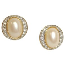 Vintage PIERCED Earrings - Faux Pearl and Rhinestone Earrings