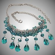 Vintage 70's Blue Glass Crystal Bead Drop Bib Cluster Necklace