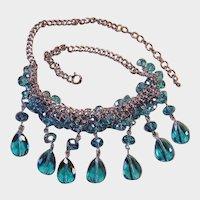 "Vintage Blue Bead Cluster Necklace - Crystal Drop Bib Necklace - 18-1/2"" Adjustable - 1980's"