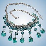 SALE - Vintage 1970's Blue Crystal Bead Drop Bib  - Cluster Necklace