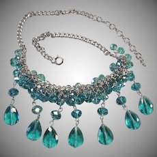 Vintage 1970's Blue Crystal Bead Drop Bib  - Cluster Necklace